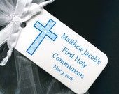 First Communion Favor Tags - First Communion Tags - Personalized - Gift Tags - Personalized Favor Tags - Blue Cross - Thank You Tags