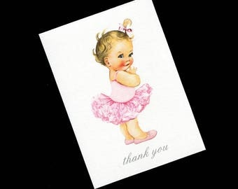 Thank You Cards - Baby Shower Thank You Card - Baby Girl  - Blank Note Card - Thank You Note Card - Pink - Baby Girl Ballerina - Style #1243