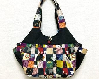 Fabric Shoulder Bag / Fabric Granny Bag / Cat Print bag --- Kimono Cat - Rose