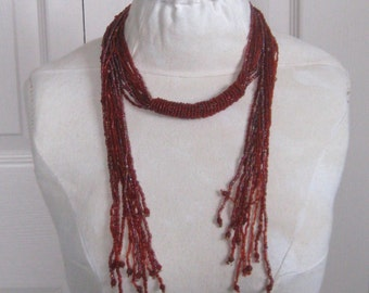woven glass bead necklace . tribal necklace