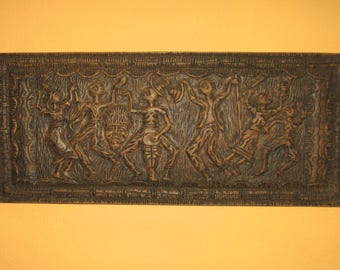 midcentury wood relief . relief . carved wood relief . dancers . carved wood . midcentury art . made in Puerto Rico . primitive art