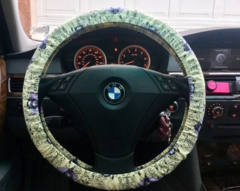 Purple Bees Steering Wheel Cover
