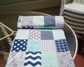 Nautical Baby Quilt, Navy Blue,Grey,Mint Green,Baby Boy Bedding,Baby Girl Quilt,Handmade Crib Quilt,Chevron Quilt,Modern,Toddler,Mint Julep