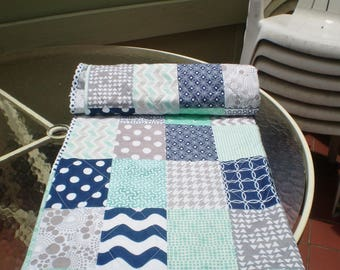 Nautical Baby Quilt, Navy Blue,Grey,Mint Green,Baby Boy Bedding,Baby Girl Quilt,Handmade Crib Quilt,Chevron Quilt,Modern,Toddler,Mint Julep