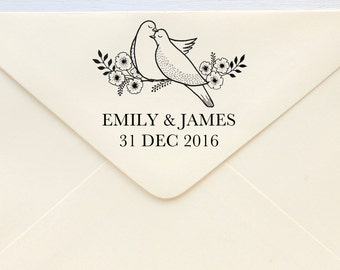 Save The Date Stamp - Lovebirds ver.3 - Rubber Stamp or Self-inking Stamp