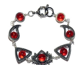 SALE 25% OFF - Neo Victorian Jewelry - Bracelet -Silver Tone - Red