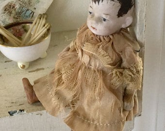 Antique German Jointed Bisque Baby Boy Doll 1920s