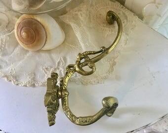 Large Ornate Brass Wall Hook