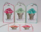 """10 Ice Cream Cone tags...2"""" x 3 3/4""""...5 Flavors Single Scoop Cones 2 of each color..Choose sentiment...Stampin'Up stamps...blank on reverse"""