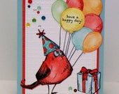 Crazy Bird Birthday Card...Birthday Balloons...Rainbow Birthday card...Have a Happy Day...Stampin'Up!...sequins from shop!
