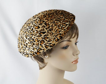 Vintage Hat Velour Animal Print Drawstring Tam or Beret