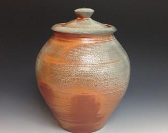 Cookie Jar.  Storage Jar. Soda Fired Stoneware