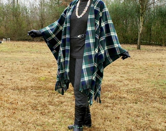 Plaid Navy and Green Anti Pill Fleece Wrap, Poncho, Cape, Blanket Scarf, or Shawl with Fringe--St. Patricks Day--One Size Fits Most