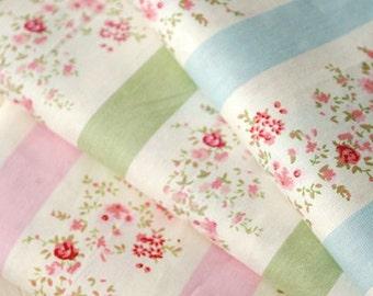 4383 - Floral Stripe Twill Cotton Fabric - 62 Inch (Width) x 1/2 Yard (Length)