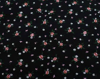 4441 - Rose Floral Cotton Thin Corduroy Fabric - 43 Inch (Width) x 1/2 Yard (Length)