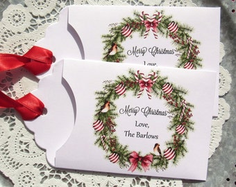 Christmas Party Favors - Personalized Christmas Favor -  Christmas Gift Card Holder - Christmas Favors - Holiday Party Favor - Holiday lotto