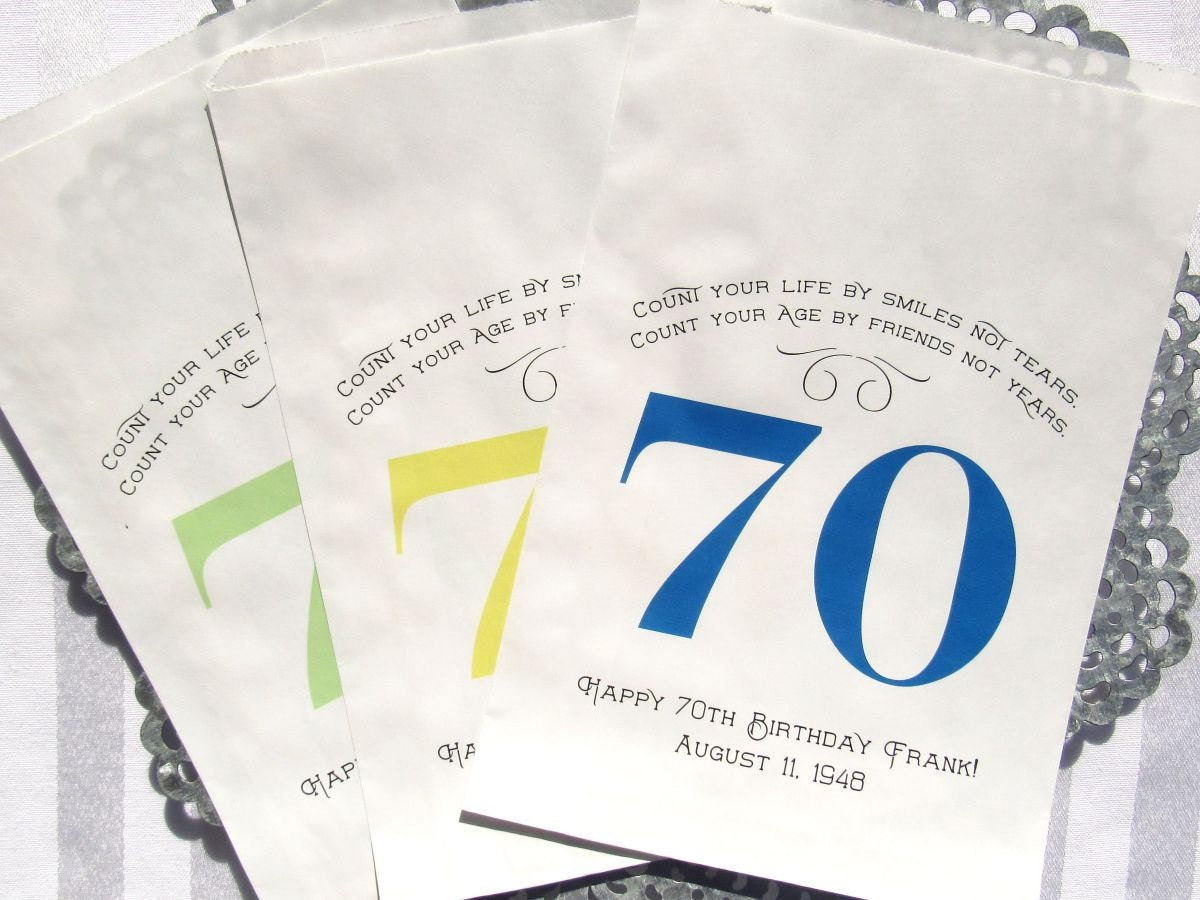 70th Birthday Favor Bags Adult