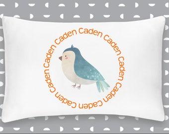 Personalized Bird Pillowcase Home Decor Bedding Bed Woodland Nursery