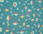 Vintage Modernist Fabric Rayon Atomic Leaf Print Material 1.3 Yards