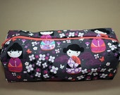 Boxy Makeup Bag - Kokeshi Japanese Doll in Gray and Lavender Zipper - Pencil Pouch