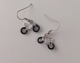 Mini Bicycle Earrings with Rubber Tires