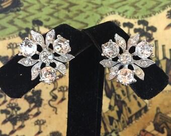 Sparkling Vintage BOGOFF Signed Silver Toned and White Rhinestone Screw Back Earrings Bridal Wedding