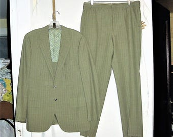 Vintage Mans 60s Green Red Striped Suit 42 R Jacket Pants Poly Knit