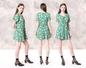 ROMPER floral MINI dress 90S vintage COLORFUL green yellow flower print Medium women spring summer / better Stay together