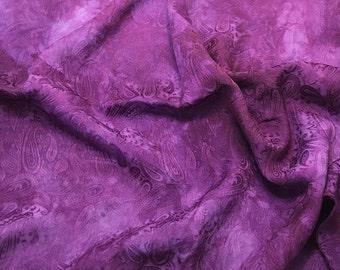 Hand Dyed Eggplant Purple PAISLEY - Silk Jacquard Fabric - 1 Yard