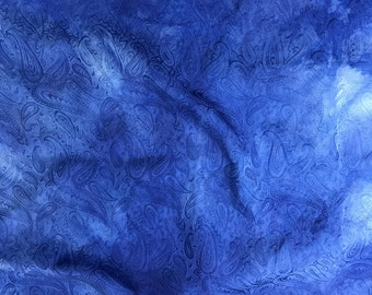 """Hand Dyed Lapis Blue PAISLEY - Silk Jacquard Fabric - 9""""x22"""" remnant"""
