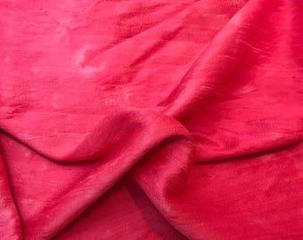 Hand Dyed FUCHSIA PINK Silk DUPIONI Fabric - fat 1/4