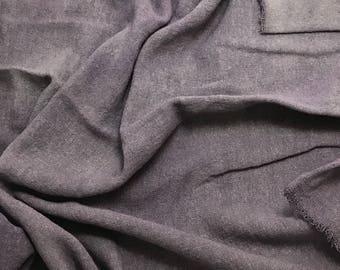 Hand Dyed PEARL GRAY Raw Silk Noil Poplin Gauze Fabric - 1 Yard