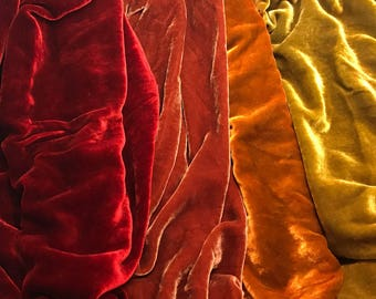 "Dark Autumn Sample Set - Hand Dyed Silk Velvet Fabric - 9""x22"" Each"