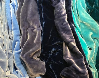 "Big Blues Sample Set - Hand Dyed Silk Velvet Fabric - 9""x22"" Each"