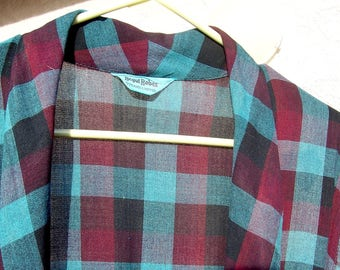 Vintage PLAID Wool Robe Medium reds blues