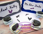 Wedding Place Card Meal Choice Rubber Stamps Cow, Fish, Veg, Chicken, Kids, Pig, Crab, Vegan, Gluten Free - 19 Choices by BlossomStamps
