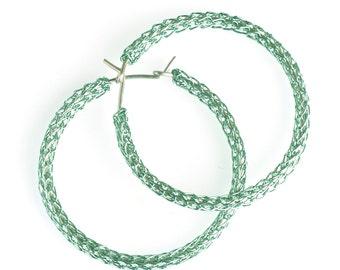Large hoop earrings green hoops silver ear wire boho fashion color earrings wire crochet jewelery, Holiday - Gypsy bohemian fashion