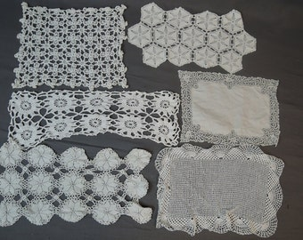 Vintage Crochet Doily Lot, 6 Doilies, Handmade 1940s 11-16 inches Large Rectangle,  Linens Lot