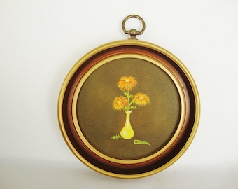 vintage 1970s painting oil or acrylic on round canvas framed flower vase