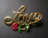Vintage Love with Rose - Gold Toned - Brooch/Pin