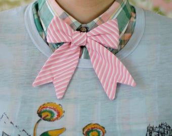 ladies bow tie in pink stripe // self tie bow tie for women // xoelle lady ties