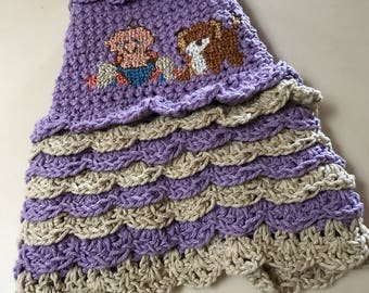 Small Dog Sweater Dress-Cross Stitch Bodice-Ruffles-Chihuahua Clothes-Yorkie Dress- Small Dog Clothes