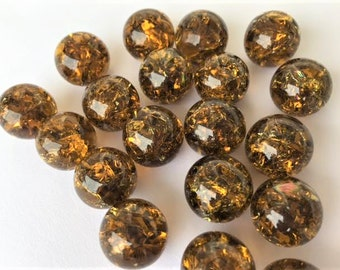 14mm COFFEE Brown Amber Crackled Glass Marbles 10 pieces Cracked Pendant  Clear Making Game Pieces Chinese Checkers