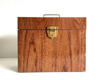 Faux Bois Porta File Locking Box with Key