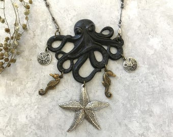 Octopus Necklace, Statement Necklace, Starfish Jewelry, Seahorse Charms, Sand Dollars, Black Octopus, Tentacles, Silver, Beach Jewelry, Gift