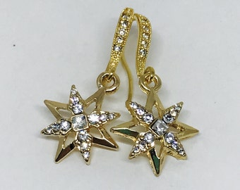 Gold Tone Dangle Rhinestone Star Earrings, 1 1/4 inches, Elegant and Beautiful, Pierced