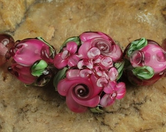 Glass Lampwork Beads, Garden Flowers, Rose bud Beads, Plum, Pink SRA #211 by CC Design