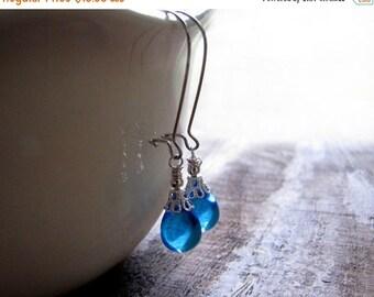 SALE Aqua Blue Glass Teardrop Earrings