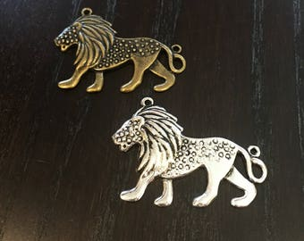 Pewter and Brass Lion Pendant Set of 2