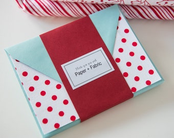 Fabric Note Cards - Red Polka Dots // Note Cards // Stationery // Thank You Cards // For all occasions